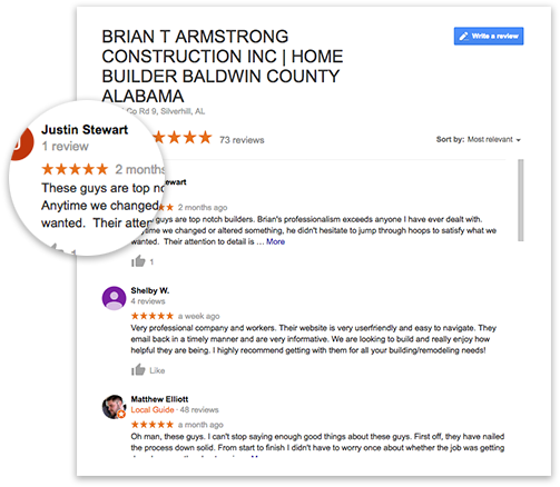 Home Builder Baldwin County Google Reviews